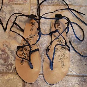 Black micro suede tie Gladiator Sandals
